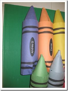 bulletin board crayons made from water bottles . . . cute!