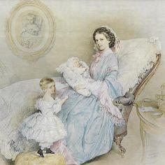 Elisabeth mit dem Kronprinzen Rudolf im Arm; die zweijährige Gisela steht vor ihr; das Proträt an der Wand zeigt die verstorbene Tochter Erzherzogin Sophie Friedericke