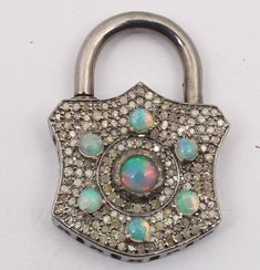 Pave Diamond Pendant, Pad Lock Pendant, Pad Lock Shaker Pendant, Lock Pendant With Opal & Diamond, Opal Silver Pendant by galaxyvish on Etsy Diamond Pendant, Diamond Jewelry, Silver Pendants, Pendant Jewelry, 925 Silver, Opal, Plating, Unique Jewelry, Handmade Gifts