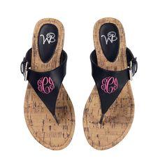 54a91c1d55e0 Sydney Monogrammed Sandals - Black