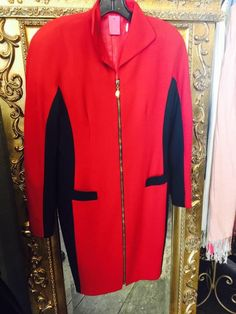 """This stunning, sophisticated red hot wool (size 6) dress just says: """"Wow!!"""" Keep warm and stylish on even the coldest days. Now on sale for $65 (from $195!) during Juleigh's HUGE Clearance Sale!"""