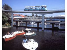 """From 1957 to 1993 guests could """"navigate"""" the Disneyland waterways of the Motor Boat Cruise on the border of Fantasyland and Tomorrowland. Its loading platform remains as """"Fantasia Gardens."""""""