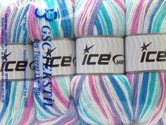 Ice Baby Self Striping Yarn 4 X 100 G