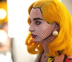 gorgeous pop art yellow hair halloween make-up