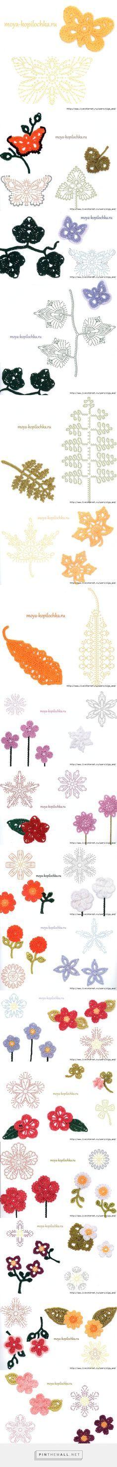 Crochet Butterfly & Leaves -Chart ❥ 4U hilariafina http://www.pinterest.com/hilariafina/