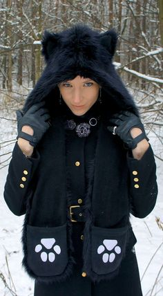 Faux fur wolf hat / hood with ears scarf and pockets by WhiteWoof, zł150.00