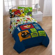 AngryBirds Bedding Sheet Set with a solid blue comforter