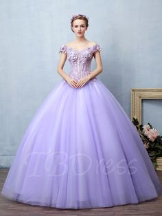 Tbdress.com offers high quality Appliques Flowers Off-the-Shoulder Cap Sleeves Quinceanera Dress Ball Gowns unit price of $ 166.99.