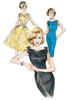 1960 Retro Dress Sewing Pattern - Crossed Neckline Dress - Butterick 6582 -Vintage Marilyn Monroe Inspired Sizes: 6 or 12 or 18 Look Fashion, Retro Fashion, Vintage Fashion, Vintage Outfits, Vintage Dresses, Retro Pattern, Vintage Sewing Patterns, 60s Patterns, Fashion Patterns