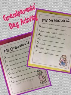 Great activities to use for Grandparents' Day at school!