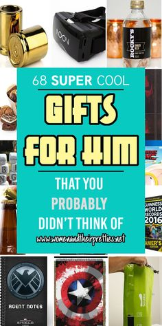 "Have you ever heard of writer's block? Well, sometimes we get ""Shoppers block"". It's time to buy a gift for your guy and you just can't think of a single thing. Well, here's 68 SUPER cool gifts that you probably didn't think of! Here you will find gifts perfect for your boyfriend, husband, father, father-in-law, brother, and guy friends! We have taken the guess-work out of it and asked our men what they want! #GiftsForHim #Shopping"