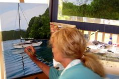 Barbara at work for her Exhibition at Crossroads Gallery Cheviot