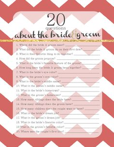 20 Questions About the Bride & Groom.  Free Winter Wedding Game Template