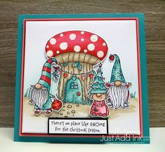My Sandbox: Just Add Ink #516...Inspiration! Christmas Gnome, Stampin Up Christmas, Christmas Cards To Make, Christmas Settings, Christmas Colors, Xmas Cards, Holiday Cards, Father Christmas, Christmas Paper