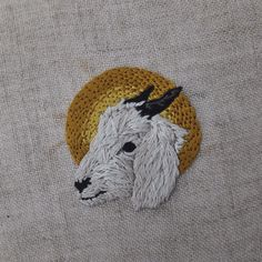 adipocere:  Hand embroidery on natural linen, for allison-sommers.