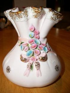 Vintage Lefton Hand Painted Pink Vase