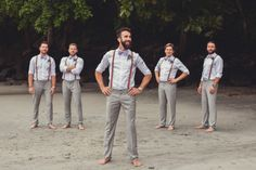 vintage groom and groomsmen, groomsmen on beach, beach wedding, tropical wedding, costa rica weddings, vintage wedding, tulemar, weddings costa rica