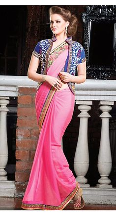 Pink color Party Wear Saree-Georgette Embroidered Saree