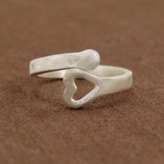 Sterling silver plated Brushed Heart Wrap Ring, #handmade in Bali. #fairtrade #worldfinds