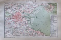 1892 DUBLIN Original historischer Stadtplan Karte antique city map Lithographie