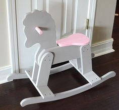 Wooden Rocking Horse Makeover - shown in Artifact grey and Innocence Pink DecoArt Chalky Finish