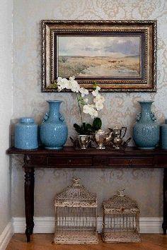 Love the Blue Pots Foyer, Entryway Tables, Blue Vases, Vignettes, My Dream Home, Tablescapes, Pots, Interiors, Decorating