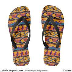 Colorful Tropical, Coastal, Beach Theme Flip Flops
