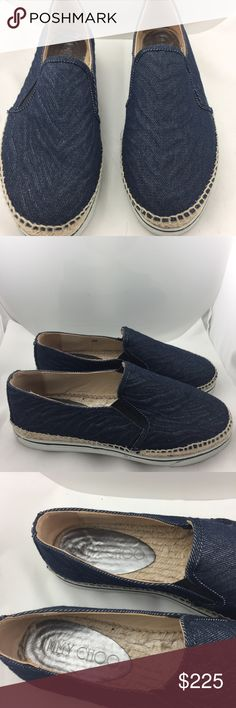 Authentic Jimmy Choo Espadrilles Sneakers! In excellent condition. Slight wear to bottoms. Denim uppers.  Does not come with box. Jimmy Choo Shoes Sneakers