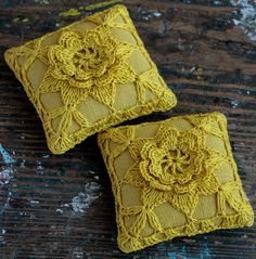 Linen  pincushion  crochet motif  mustard by namolio on Etsy