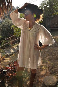 Crochet Dress White Short  Mini Sheer Angel Sleeves Tunic Mexican Senorita Bohemian 1970s 70s Free Size S M L. $58.00, via Etsy.