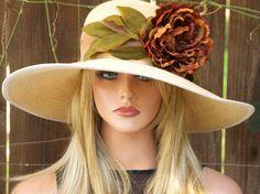 The perfect Kentucky Derby Hat. Wide Brim Wedding Hat in #TurningOakleaf - by AwardDesign #derby