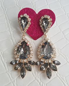 Fast Shipping using First Class Mail Most packages arrive in 2-5 business days!  Amazing sparkling Rhinestone Earrings  Perfect for formal occasions and holiday parties About 6.3cm long