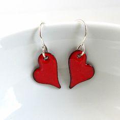 Red Heart Earrings,  Red Enamel Earrings, Enamel Jewelry. via Etsy.