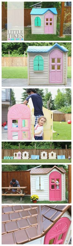 DIY Little Tikes Makeover, Painting Little Tikes Homes, Little Tikes Makeover… Little Tikes House, Little Tikes Playhouse, Build A Playhouse, Playhouse Ideas, Playhouse Outdoor, Outdoor Toys For Toddlers, Diy Outdoor Toys, Outdoor Playhouses, Little Tikes Makeover