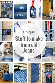 Clever and creative ways to upcycle your old jeans. Lots of unique ways to use denim in your home.
