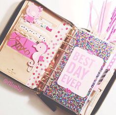 Kate Spade planner, like Filofax set up and decoration. Glitter dashboard