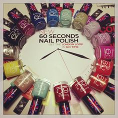 NEW 60 SECONDS NAIL POLISH IN 16 AMAZING SHADES - ROCK COLOUR, QUICK DRY - RIMMEL LONDON COSMETICS