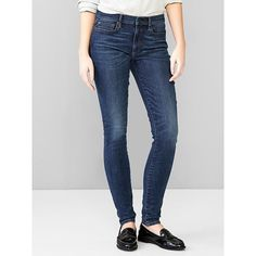 Gap Women 1969 Resolution True Skinny Jeans (61 CAD) ❤ liked on Polyvore featuring jeans, rich indigo, tall, denim skinny jeans, stretchy skinny jeans, petite skinny jeans, stretchy jeans and stretch jeans
