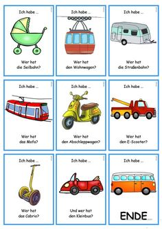 German Grammar, German Language Learning, Vocabulary, School, Preschool, School Forms, Transportation, Pictorial Maps