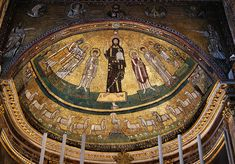Apse mosaic Church of San Marco, Rome (9th century) follows the Byzantine tradition.