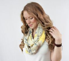 Floral Infinity Scarf Spring Scarves Ivory by ForgottenCotton, $22.00 yellow  grey sheer accessories women's style