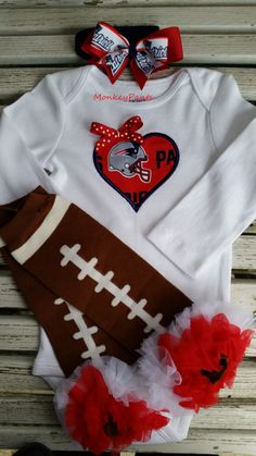 New England Patriots Baby - Girl's Football Bodysuit - Matching Leg Warmers - Baby Shower Gift - Newborn Gift by MonkeyPantsPartyHats on Etsy