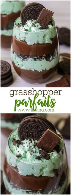 Grasshopper Parfaits – layers of chocolate pudding, mint whipped cream, Crushed Oreos and Andes chocolates! Grasshopper Parfaits – layers of chocolate pudding, mint whipped cream, Crushed Oreos and Andes chocolates! Desserts Nutella, No Bake Desserts, Easy Desserts, Delicious Desserts, Dessert Recipes, Yummy Food, Trifle Desserts, Baking Desserts, Dinner Recipes