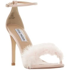 Steve Madden Scarlett Fluffy Stiletto Sandals ($110) ❤ liked on Polyvore featuring shoes, sandals, pink, stiletto shoes, toe strap sandals, steve madden shoes, heels stilettos and pink high heel sandals