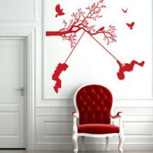 Children On Swings Wall Sticker - Gifts for the Home Wall Stickers Red, Room Stickers, Wall Decals, Wall Painting Decor, Tree Wall Decor, Flower Wall Decor, Swing Tattoo, Quirky Decor, Wall Tattoo