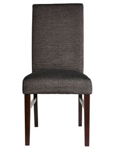 Upholstered in black fabric, this dining chair has solid timber legs. Black Fabric, Accent Chairs, Dining Chairs, Lounge, Legs, Furniture, Home Decor, Kitchen Benches, Dining Rooms