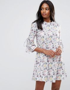QED London Floral Shift Dress With Fluted Sleeve - Multi