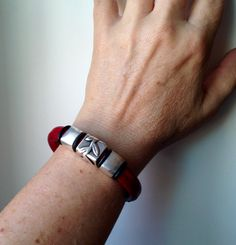 Silver Vine Thick Fire Engine Red Leather by moonjigjewelry