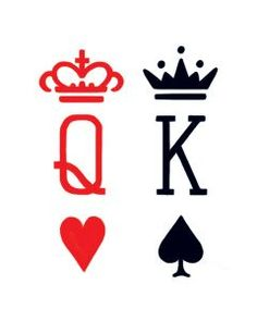 King & Queen Card Suit Temporary Tattoos