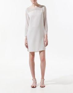 $60 DRESS WITH TRANSPARENT SLEEVES AND BODICE - Dresses - Woman - ZARA United States